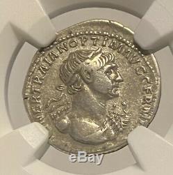 Emperor Tarjan Roman Empire Silver Denarius Ad 98-117 Ngc Certified Ancient Coin