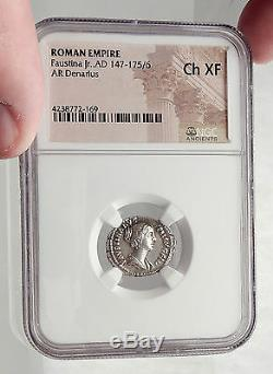 FAUSTINA II Junior Marcus Aurelius Wife Ancient Silver Roman Coin NGC i62481