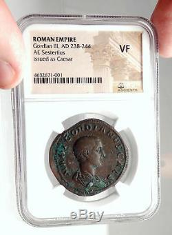 GORDIAN III As Caesar UNDER BALBINUS PUPIENUS Sestertius Roman Coin NGC i75092