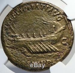 HADRIAN Authentic Ancient 132AD Rome Sestertius Roman Coin GALLEY NGC i82698