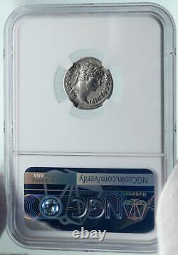 HADRIAN Travels to SPAIN Authentic Ancient 134AD Silver Roman Coin NGC i86653