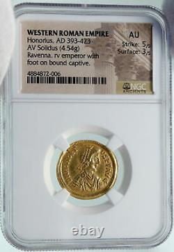 HONORIUS Authentic Ancient 395AD Gold Solidus Roman Coin of RAVENNA NGC i86550