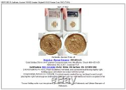 HONORIUS Authentic Ancient 408AD Genuine Original GOLD Roman Coin NGC i71692
