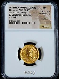 HONORIUS NGC MS ROMAN COINS AV SOLIDUS. Rv Constantinopolis std AD 393-423. A825
