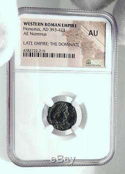 HONORIUS w VICTORY Authentic Ancient Antioch Original Roman Coin NGC i81671