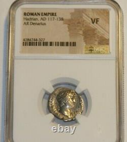 Hadrian Roman Emperor Ad 117-138 Ngc Certified Vf Silver Denarius Coin