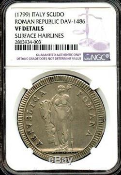 Italy 1799 Silver Scudo RARE Roman Republic coin! NGC graded VF