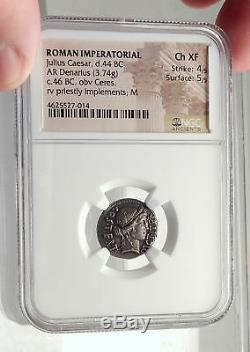 JULIUS CAESAR Authentic 46BC Ancient Silver Roman Coin THAPSUS BATTLE NGC i71710