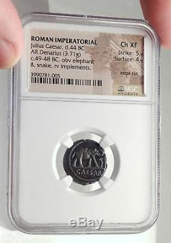 JULIUS CAESAR Authentic Ancient 49BC Silver Coin w ELEPHANT NGC Certified i71713