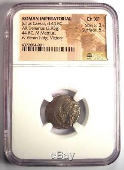 Julius Caesar AR Denarius Coin 44 BC (M Mettius, Venus, Victory) NGC Choice XF