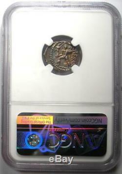 Julius Caesar AR Denarius Coin 48 BC (Venus, Aeneas, Rainbow Tone) NGC AU