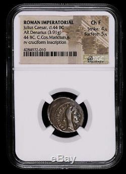 Julius Caesar Denarius 44 Bc Ancient Roman Empire Coin Maridianus Cuciform Cr