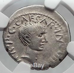 LEPIDUS JULIUS CAESAR Ally Triumvir Augustus 43BC Silver Roman Coin NGC i61060