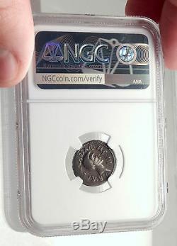 LEPIDUS JULIUS CAESAR Ally Triumvir Augustus 43BC Silver Roman Coin NGC i71703