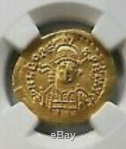 Leo I Eastern Roman Gold Coin Empire NGC AU Solidus some grafitti