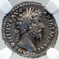 MARCUS AURELIUS Authentic Ancient 165AD Silver Roman Coin FELICITAS NGC i82621