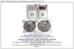 MARCUS AURELIUS Authentic Ancient 168AD Silver Roman Coin AEQUITAS NGC i71706