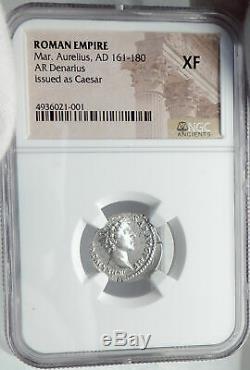 MARCUS AURELIUS as Caesar Authentic Ancient 145AD Silver Roman Coin NGC i82590