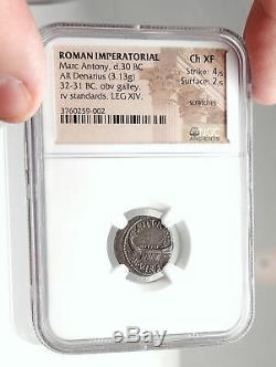 MARK ANTONY Cleopatra Lover 32BC Ancient Silver Roman Coin LEGION XIV NGC i75091