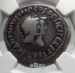 MARK ANTONY & OCTAVIA Augustus Sister Silver Tetradrachm Roman Coin NGC i60110