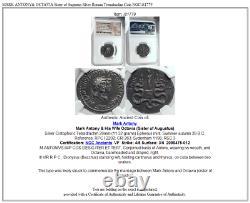 MARK ANTONY& OCTAVIA Sister of Augustus Silver Roman Tetradrachm Coin NGC i81779