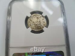 Macrinus Roman Empire AD 217-218 NGC AU Silver Denarius Long Beard Ancient Coin