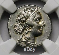 NGC AU 3/5-3/5. Julius Caesar 48-46 BC Stunning Rare Denarius Roman Silver Coin