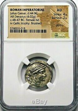 NGC AU 4/5-2/5 Julius Caesar 48-47 BC Exquisite Rare Denarius. Roman Silver Coin
