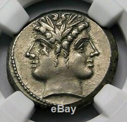 NGC AU 4/5-3/5 Anonymous. Stunning Quadrigatus c. 225-214/2 BC Roman Silver Coin