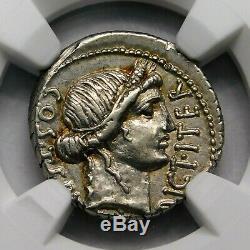 NGC AU 4/5-4/5. Julius Caesar. Exquisite Rare Denarius. Roman Silver Coin