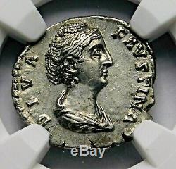 NGC AU. Faustina Sr. Rare Denarius. Mother of Marcus Aurelius. Roman Silver Coin