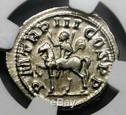 NGC AU. Gordian III. Stunning Denarius circa AD 240. Ancient Roman Silver Coin