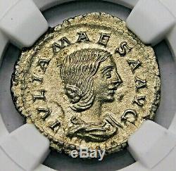 NGC AU. Julia Maesa. Stunning Denarius. Ancient Roman Silver Coin