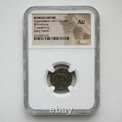 NGC AU Roman Coin / Nummus Romulus & Remus & She-Wolf 340AD from Epfig HOARD