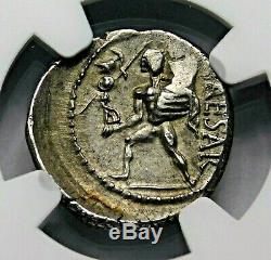 NGC Ch AU 3/5-4/5 Julius Caesar 48-46BC Stunning Rare Denarius Roman Silver Coin