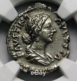 NGC Ch AU 5/5-2/5 Faustina Jr Denarius Wife of Marcus Aurelius Roman Silver Coin