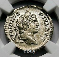 NGC Ch AU 5/5-4/5. Caracalla Exquisite Denarius. Brother Geta. Roman Silver Coin