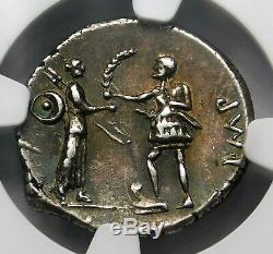 NGC Ch XF 5/5-4/5 Pompey Jr Exquisite Scarce Denarius Roman Republic Silver Coin