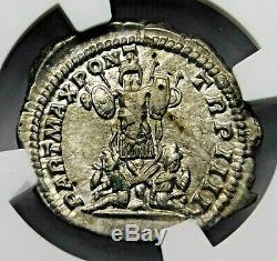 NGC Ch XF. Caracalla. Stunning Denarius. Brother of Geta. Roman Silver Coin