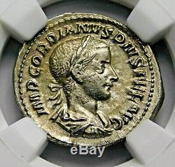 NGC Ch XF. Gordian III. Stunning Denarius, Struck AD 241. Roman Silver Coin