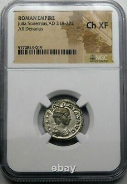NGC Ch XF Julia Soaemias Superb Denarius Mother of Elagabalus Roman Silver Coin