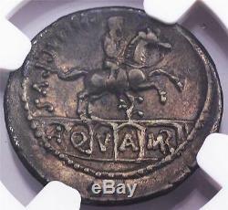 NGC Ch. XF L. Marcius Phillippus Roman Silver Denarius Coin 57/6 B. C. Equestrian