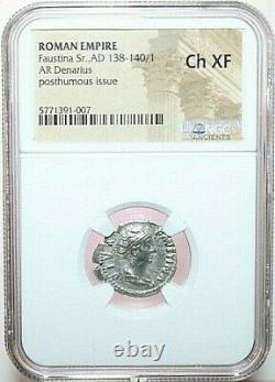 NGC Ch XF ROMAN COINS FAUSTINA Sr. AD 138-140/1. AR Denarius. MAX/036