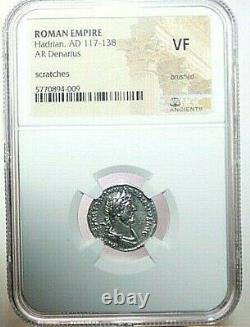 NGC Ch XF ROMAN COINS Hadrian, AD 117-138. AR Denarius. MAX/023