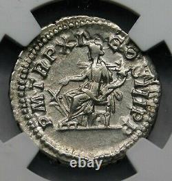 NGC Ch XF. Septimius Severus AD 203 AR Denarius. Ancient Roman Silver Coin