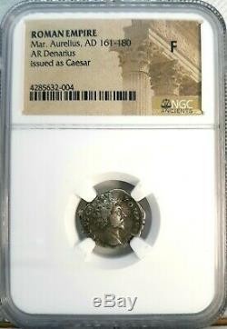 NGC F. Marcus Aurelius as CAESAR 161 AD Stunning Rare Denarius Roman Silver Coin