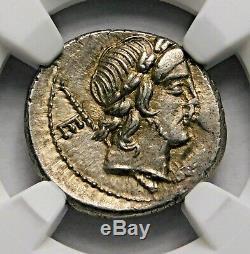 NGC MS 4/5-4/5. P. Crepusius. Stunning Denarius. Roman Republic Silver Coin