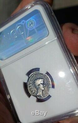 NGC Roman Marc Antony & Augustus Ceasar 41 BC Silver Denarius Very Rare Coin