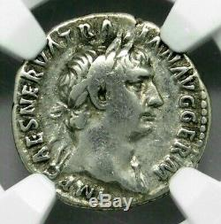 NGC VF. Trajan 98-117 AD. Rare Denarius Silvering. Ancient Roman Silver Coin
