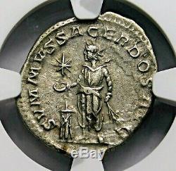 NGC XF. Elagabalus. Excellent Denarius, Struck AD 218-222. Roman Silver Coin